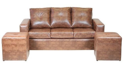 sofá 3 cuerpos con 2 pouf cuero pu caramelo/ muebles américa