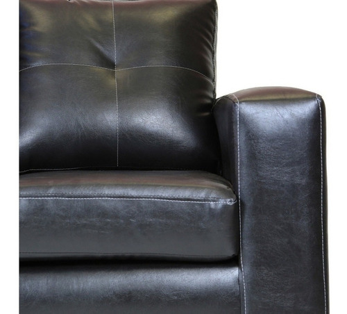 sofá 3 cuerpos con 2 pouf cuero pu negro / muebles américa