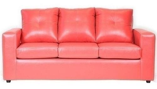 sofá 3 cuerpos con 2 pouf cuero pu rojo / muebles américa