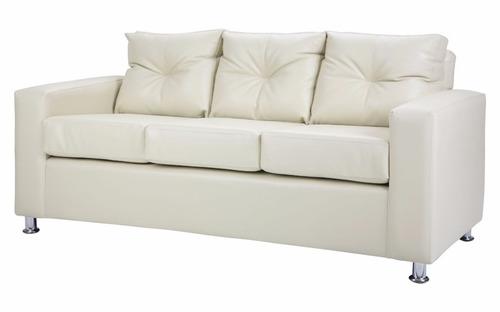 sofa 3 cuerpos cuero pu beige patas metal directo de fábrica