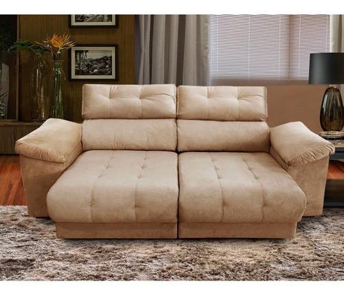 sofá 3 lugares elite paraná com assento bipartido retráti