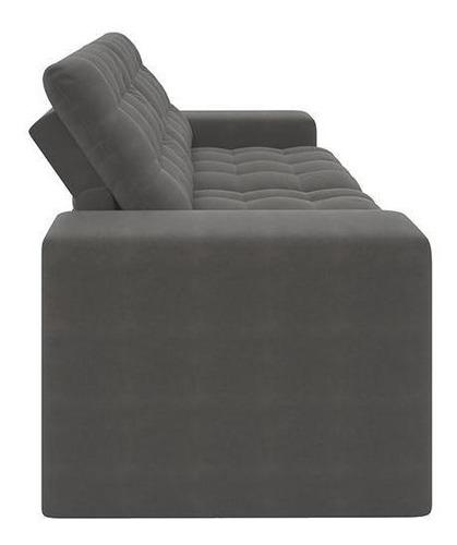 sofá 3 lugares retrátil e reclinável titan cinza escuro