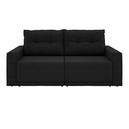 sofá 3 lugares retrátil kennedy suede preto