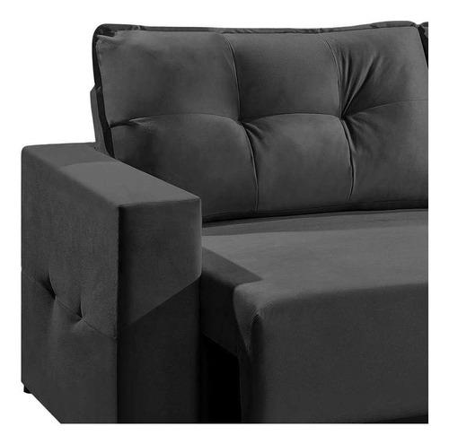 sofá 3 lugares retrátil lubeck suede grafite