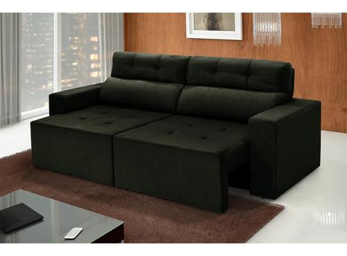 sofá 4 lugares triunfo retrátil e reclinável suede amassado