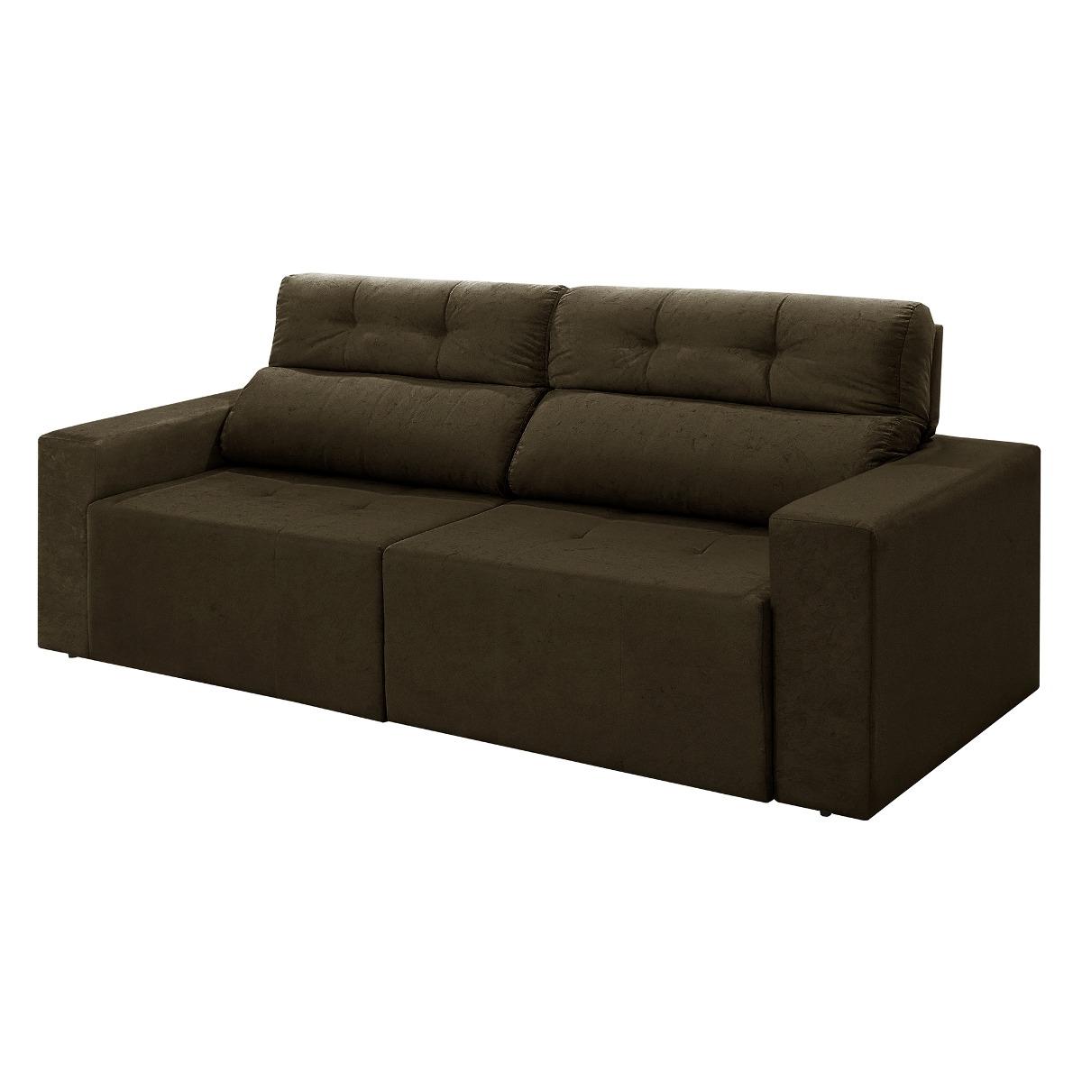 fc379246c sofá 4 lugares triunfo retrátil reclinável suede marrom. Carregando zoom.