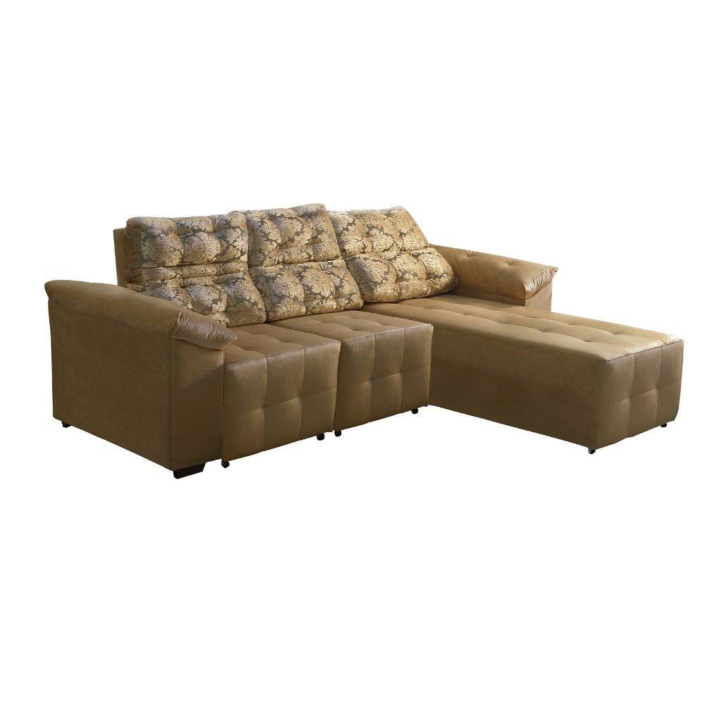 Fine Sofa Acacia 3 Lugares Com Chaise Retratil Casa Mais Machost Co Dining Chair Design Ideas Machostcouk