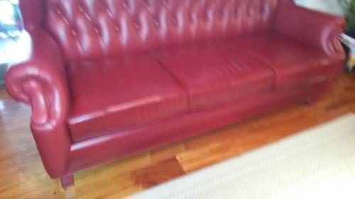 sofa  berger 3 cuerpos en cuero vacuno bordo capitone