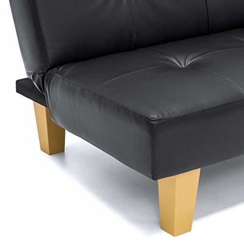 sofá best choice products pu leather convertible futon