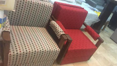 sofa cama 1 plaza con posabrazos y baul de madera mi casa