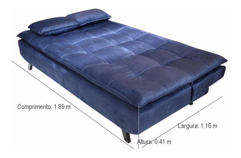 Sofá Cama Casal 509 - Azul - R$ 1.099,99 em Mercado Livre