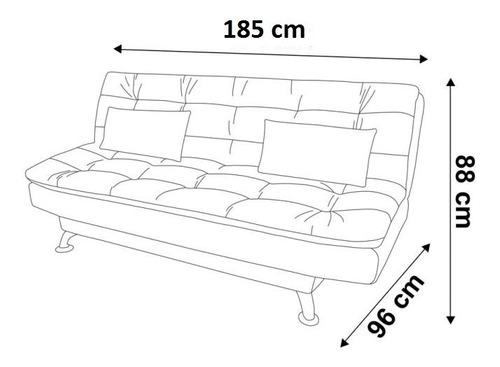 sofá cama clic clac blanco semidoble 3 posicio + 2 almohadas