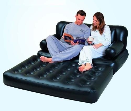 sofá cama colchão inflável casal bestway c bomba 220v #75056