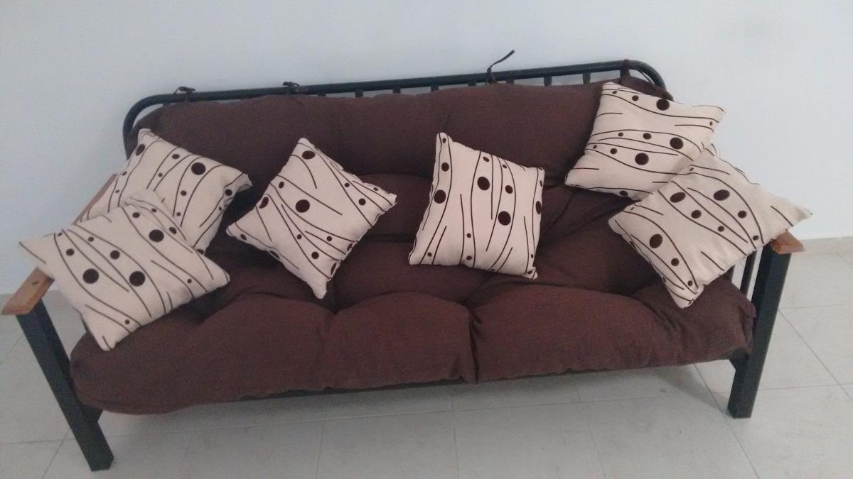 Sofa cama con 6 cojines color cafe 4 en mercado - Camas con cojines ...