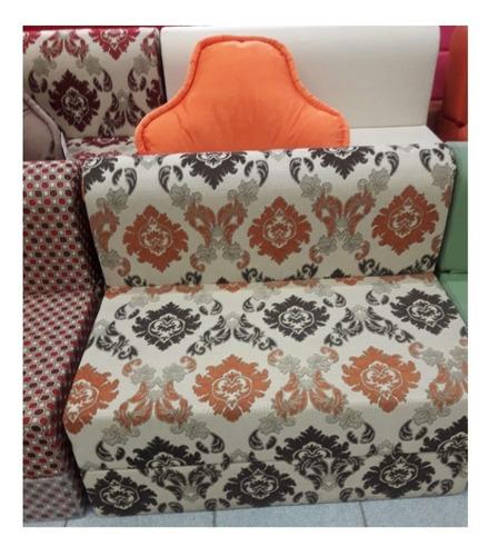sofá cama de plaza y media en tela 105x185x20cm