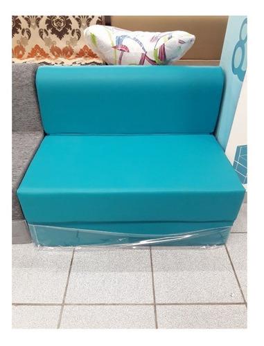 sofa cama de plaza y media en ultra cuero 105x185x20cm