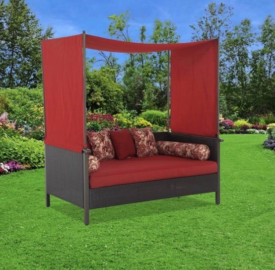 Sofa cama de rattan con toldo para jardin o terraza for Sofas de ratan para jardin