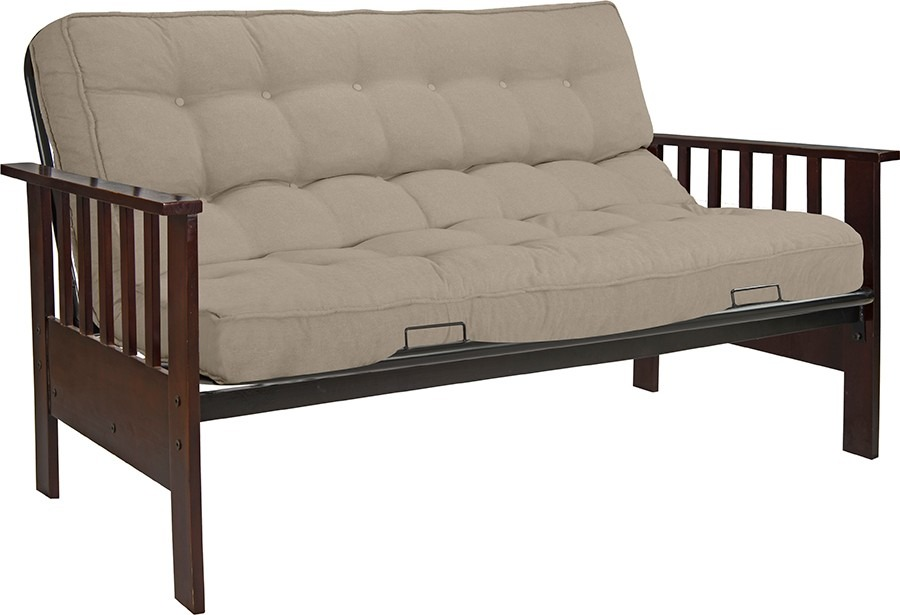 Sof cama fut n con posabrazos en madera incluye colch n for Sofa cama opiniones