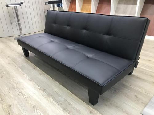 sofa cama futon ecocuero negro envio gratis