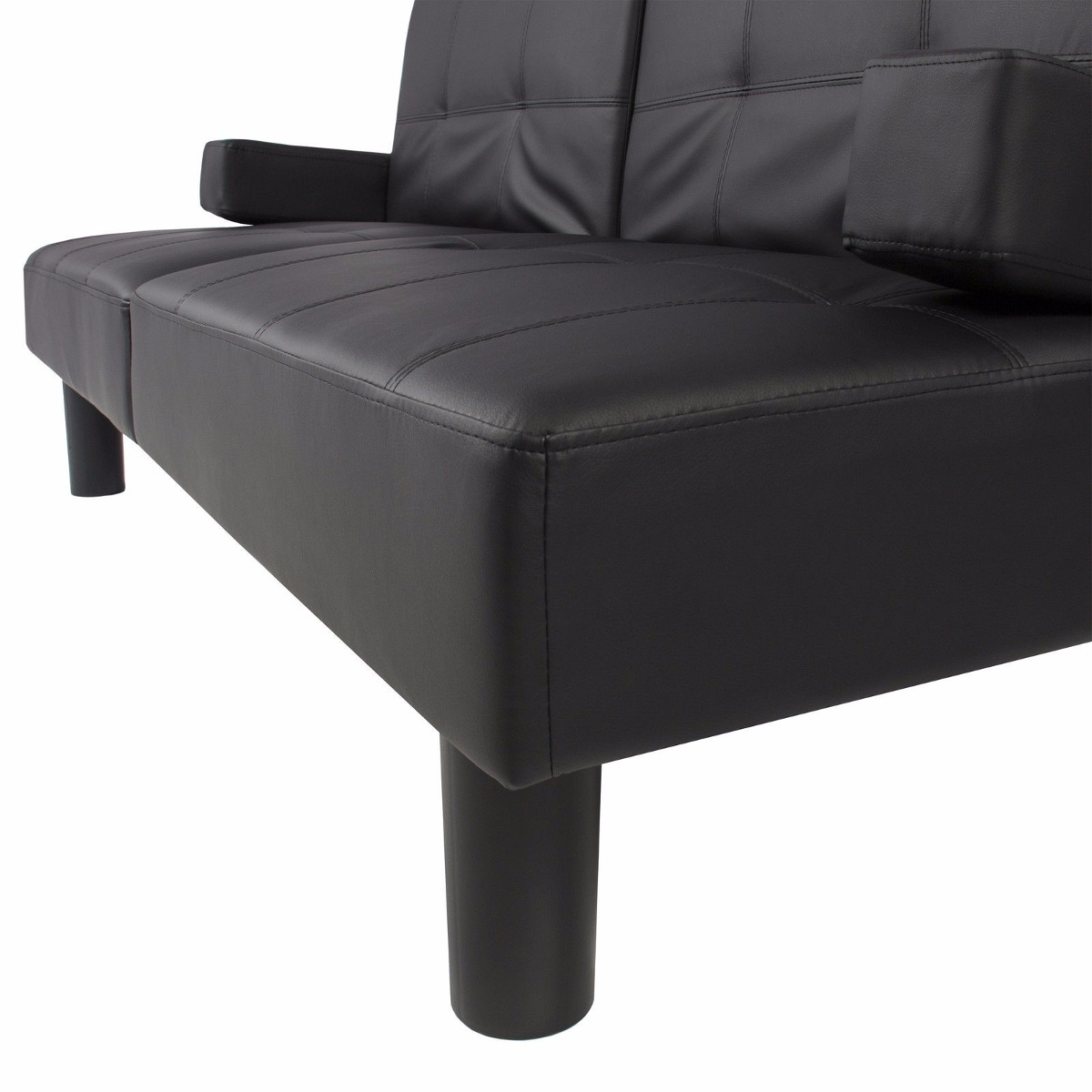 Sof cama imitaci n cuero sill n convertible moderno negro for Sillon cama mercado libre