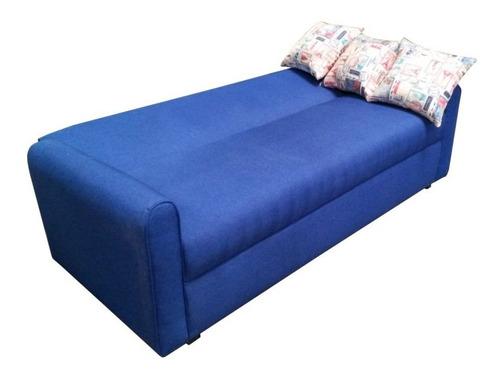 sofá cama individual de tres posiciones con tres cojines