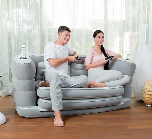 sofá cama inflável bestway soft top c 02 travesseiros #75063