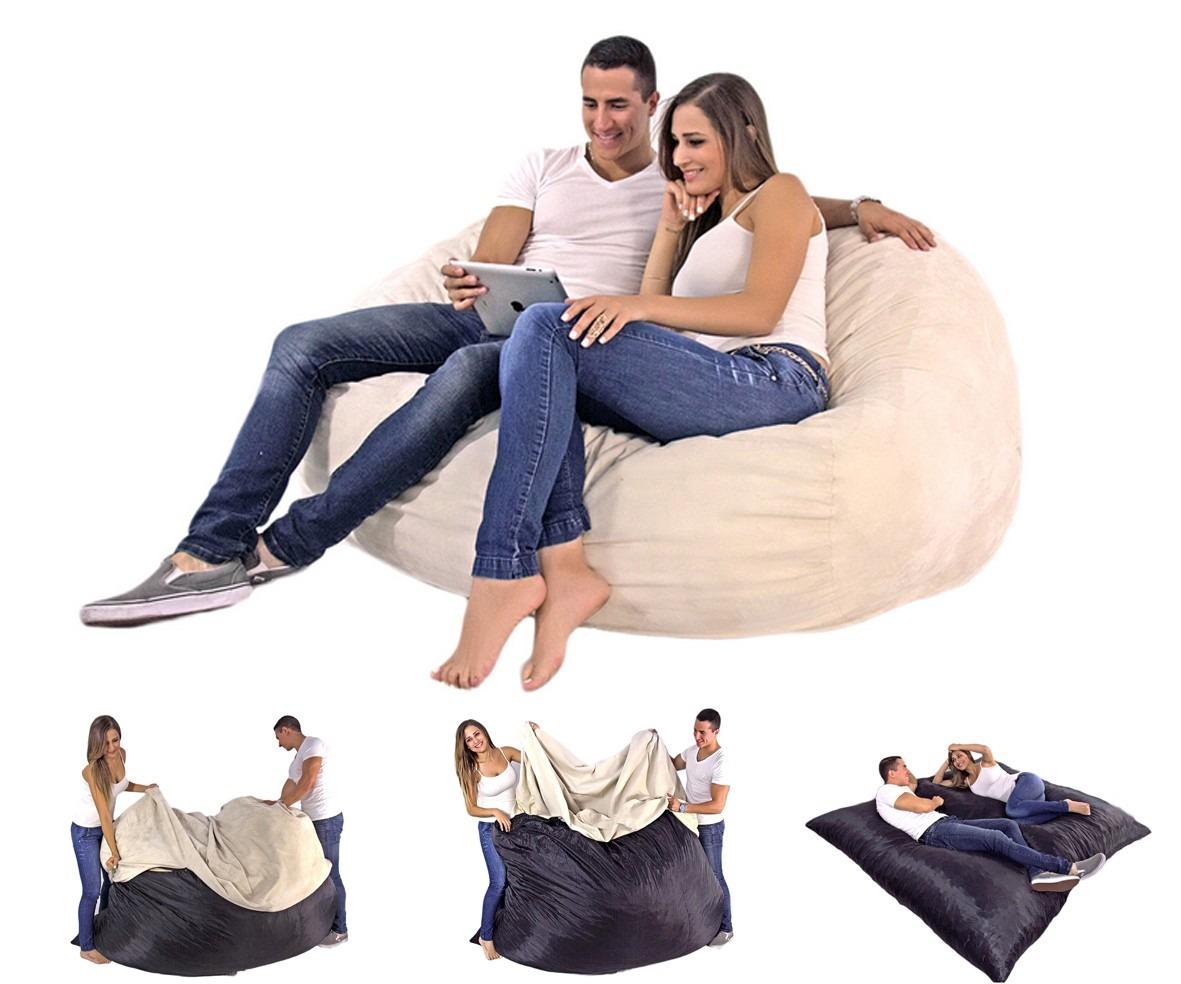 Sof cama love seat tipo puff en gamuza c modo y econ mico for Mercado libre sofa camas nuevos