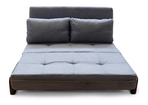 sofa cama matrimonial moderno toques en madera tela mobydec