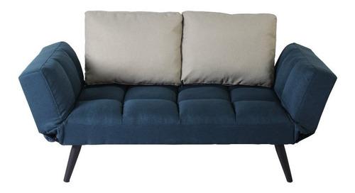 sofá cama milan azul marino c/ cojines beige  individual