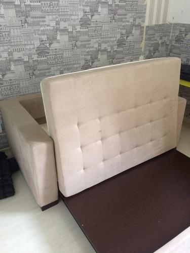 sofa cama - molina com braço tecido sued super areia