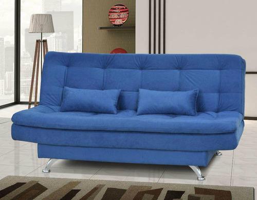 sofá-cama reclinável 3 lugares casal suede luxo - 3 posições