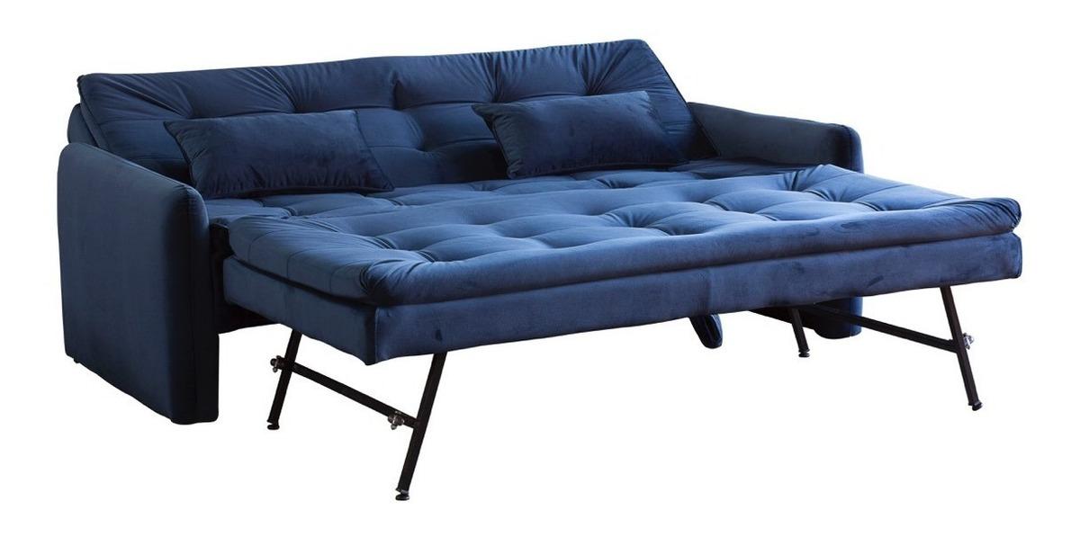 Sofa Cama Reclinavel 3 Lugares Retratil Casal Veludo Azul R 1 459 00 Em Mercado Livre
