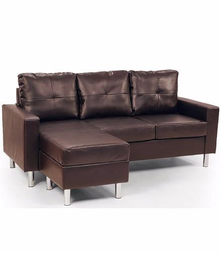 sofa cama romano de cuero y madera de lujo