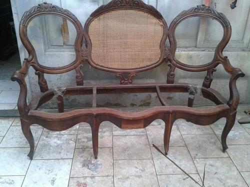 sofá canapé marquesa em imbuia palha indiana entalhado