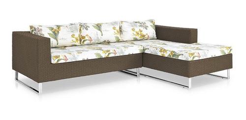 sofá canto chaise l alumínio polido e fibra sintética