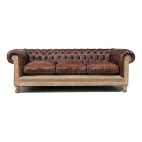 Sofa Chester Restoration En Cuero Vacuno De 4 Cuerpos