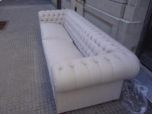 sofa chesterfield en lino 3 cuerpos unico