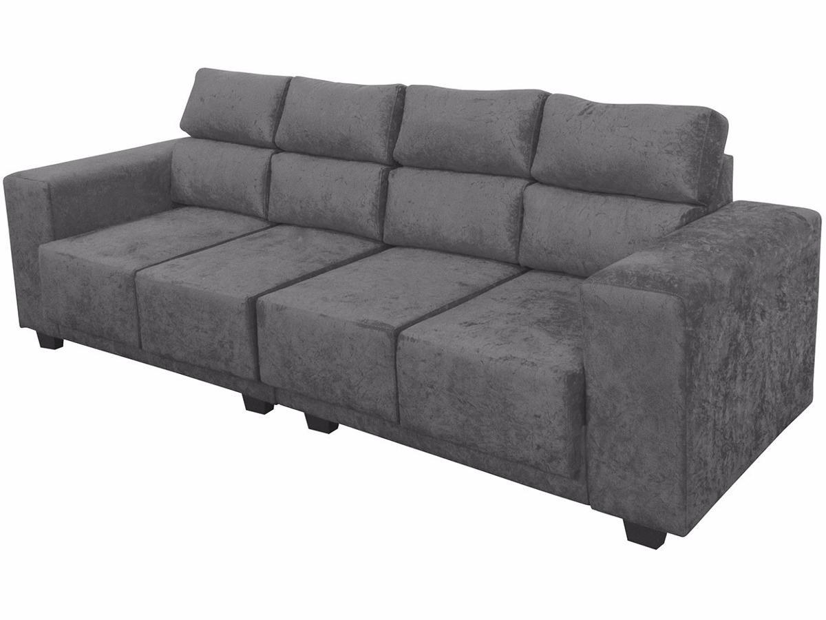 sof cinza 4 lugares assentos retr til 2 4m suede moderno r em mercado livre. Black Bedroom Furniture Sets. Home Design Ideas