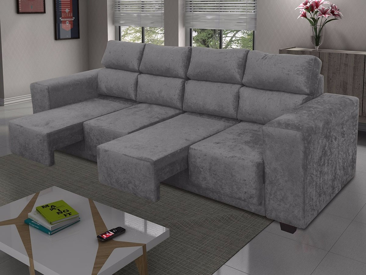 Sofa Moderno Retratil Sala -> Sala Com Sofa Retratil Cinza