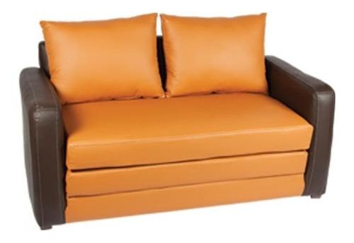 sofá converticama matrimonial naranja