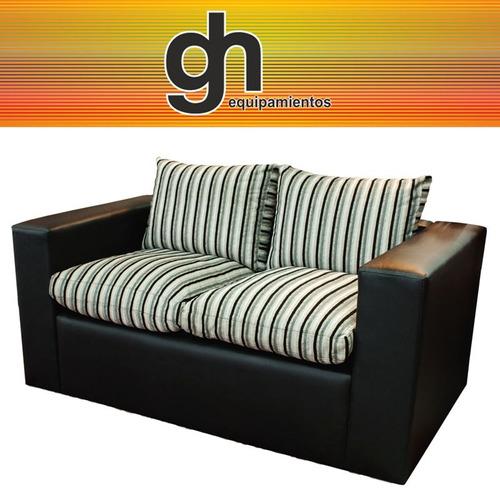 sofa de 2 cuerpos almohadones de sacar con cierres recto