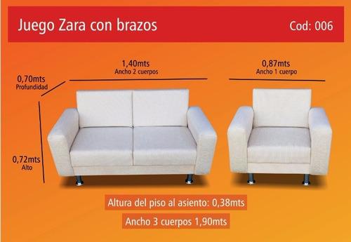 sofa de 2 cuerpos + dos sillones de un cuerpo patas cromadas