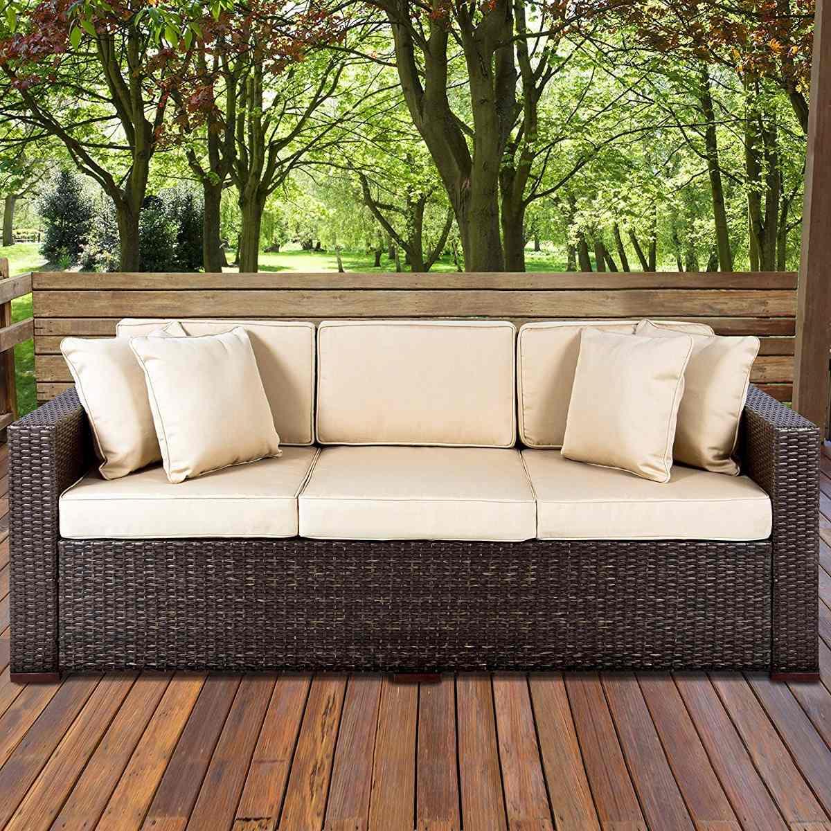 Sofa de 3 plazas exterior en mimbre en for Sofa exterior plegable
