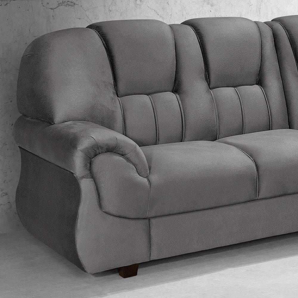 f8ab38d4a sofá de canto 3 e 2 lugares cinza caribe leppos. Carregando zoom.