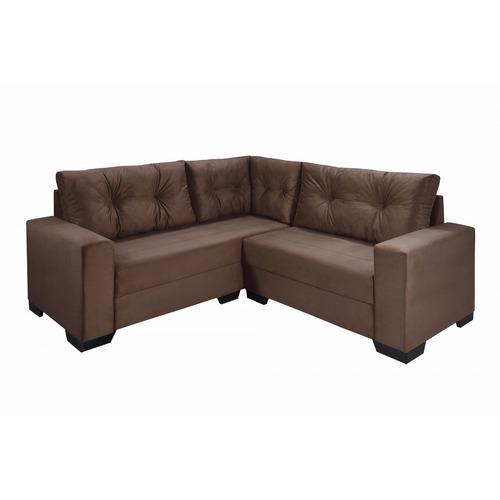 sofá de canto 4 lugares com chaise maria império he