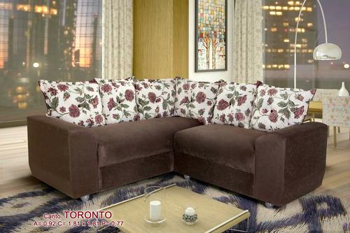 sofá de canto 5 lugares almofadas soltas estampadas toronto