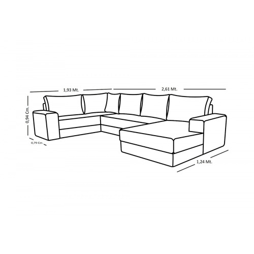 sofá de canto 5 lugares com chaise maria império gi