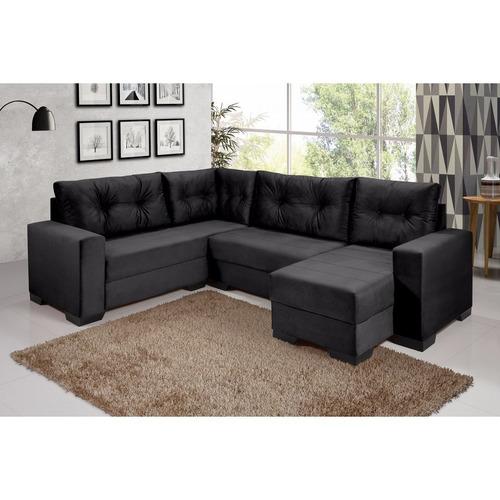 sofá de canto 5 lugares com chaise maria império gj