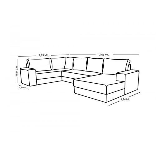 sofá de canto 5 lugares com chaise maria império ha