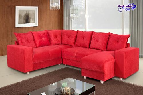 sofá de canto 6 lugares com chaise 5070 tecido suede luxuoso